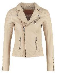 Ladies Plain Cream Fashion Leather Jackets