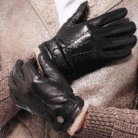 Mens Black Leather Fashion Gloves