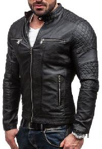Mens Quilted Black Leather Jackets