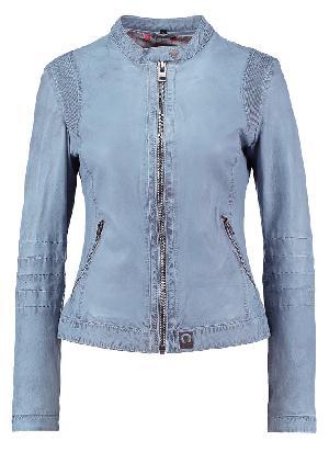 Ladies Sky Blue Leather Jackets