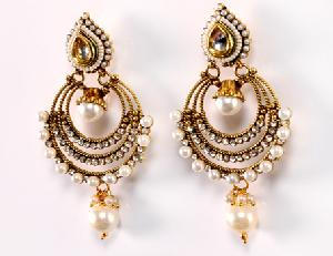 Artificial Gold Pearl Earrings