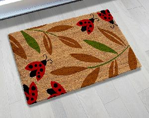 Natural Printed PVC Tufted Coir Mat (LE-1418)
