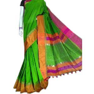 Green Cotton Silk Sarees