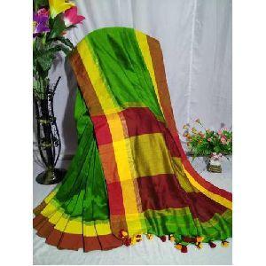 Green Khadi Cotton Sarees