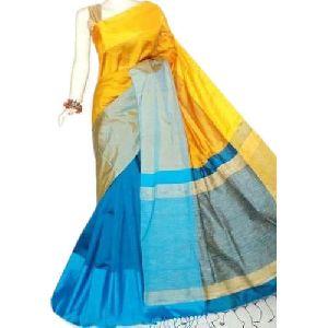 Yellow and Blue Cotton Silk Saree 01