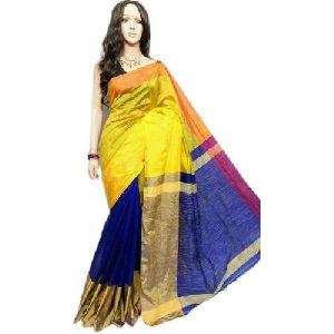 Yellow and Blue Cotton Silk Saree 02
