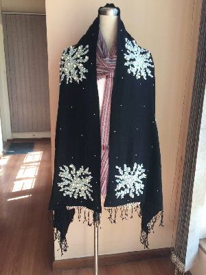 Black Embroidered Pashmina Shawls