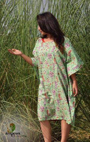 Ladies Cotton Knee Length One Piece Dress