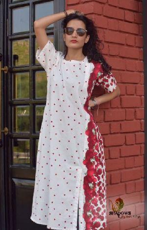 Ladies Flower Printed One Piece Dress