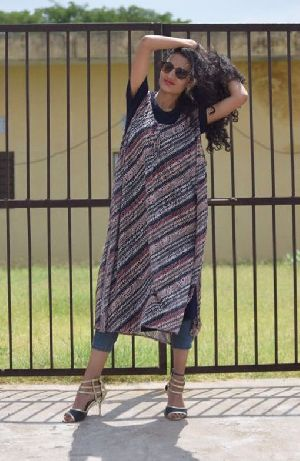 Ladies Printed Knitted One Piece Dress