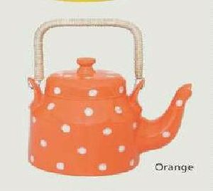 Orange Bone China Kettle
