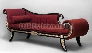 Chilifry Tinsel Royal Black & Golden Rosewood made 3 Seater Sofa cum Couch