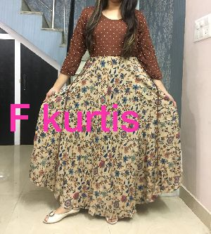 F Kurti Floral Long Gown