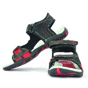 SDZ 102 Mens Black & Red Sandals 03