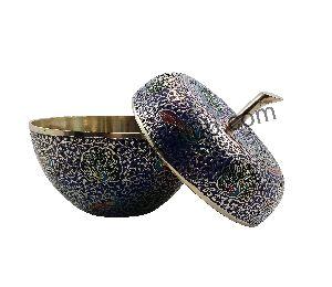Navy Blue Brass Apple Pot