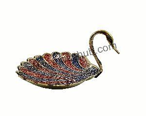 Navy Blue Brass Decorative Bowl