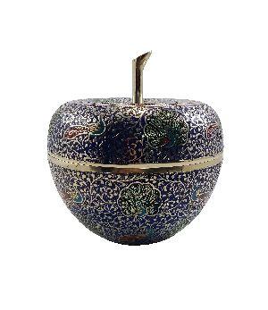Navy Blue Brass Decorative Pot