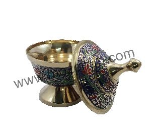 Navy Blue Brass Dome Pot