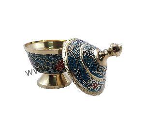 Sky Blue Brass Dome Pot