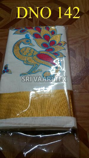 D No. 142 Kerala Cotton Saree