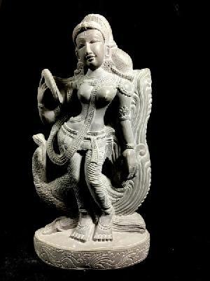 Apsara Holding Mirror Stone Statue