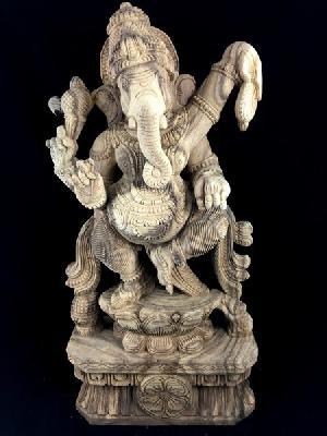 Dancing Ganesha Wooden Statue