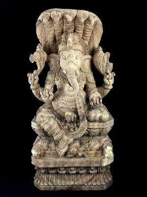 Sitting Ganesha Wooden Statue
