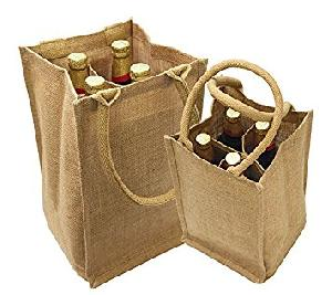 Jute Four Bottle Wine Bags