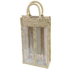 Jute Two Bottle Wine Bags