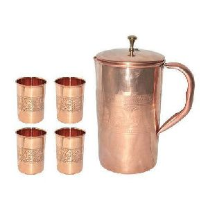 Copper Jug with Tumbler
