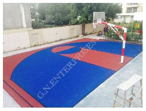 Basketball Pole With Acrylic Court
