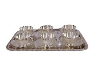 Silver Cup Set With Tray