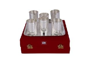 Silver Glass Set With  Tray