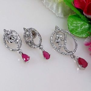 Silver Plated Diamond Earrings