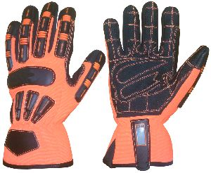 TPR Gloves for oil Field / Impact Protective Mechanic Gloves for Oil and Gas Industries / Non-Slip Gloves