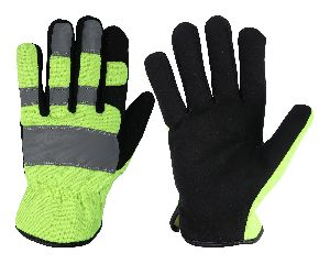 Best Quality High Visibility Mechanic Gloves / Synthetic Leather Rigger Gloves, Safety Gloves / Mechanical Gloves