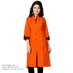 K-12 Orange Line Cotton Kurti