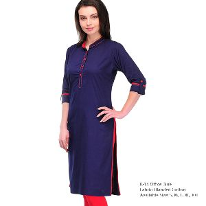 K-14 Office Blue Cotton Kurti
