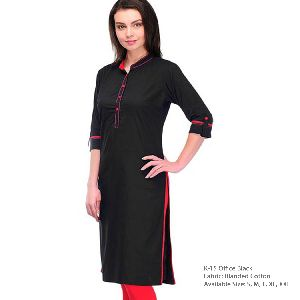 K-15 Office Black Cotton Kurti