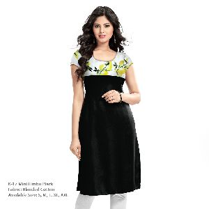 K-17 Mini Limbu Black Cotton Kurti