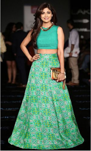 L-54 Fire Green Regular Lehenga
