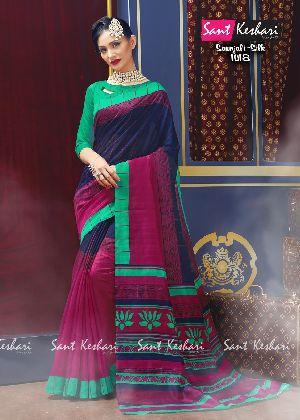 Saanjali 1018 Bhagalpuri Silk Saree