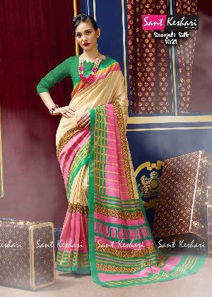 Saanjali 1021 Bhagalpuri Silk Saree