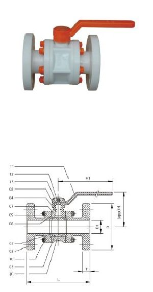 Flange End PP Ball Valve