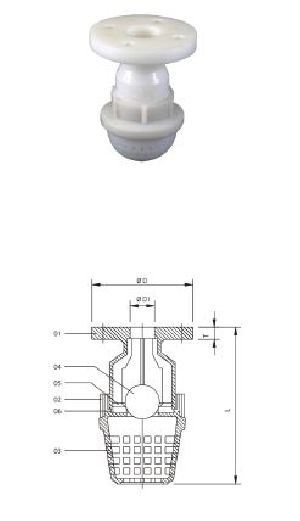 Flange End PP Foot Valves