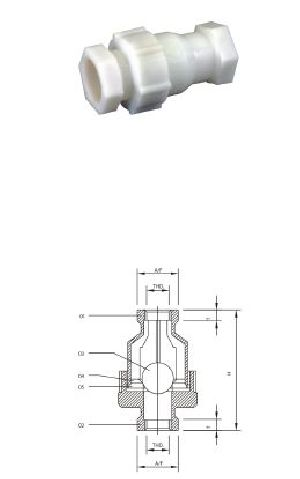 Screw End PP Non Return Valves