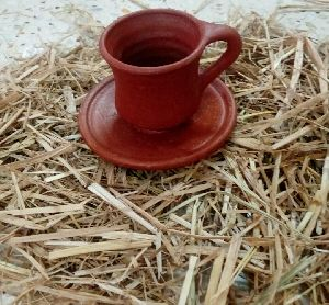 Clay Tea Cup & Plate Set