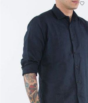 Admiral Blue Cotton Linen Slim Fit Shirt