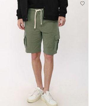 Army Green Fleece Cargo Pocket Shorts
