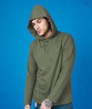 Army Green Plain Henley Hoodies